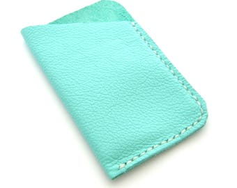 Aqua Leather Wallet, Credit Card Holder, Hand Stitched Wallet, Tropical Colors, Blue Wallet, Gifts Under 25, Gift for Women, Mini Wallet
