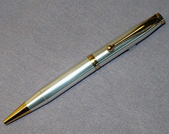 Handmade Lathe Turned Aluminum Ballpoint Pen Cross Style Gold Trim Accents
