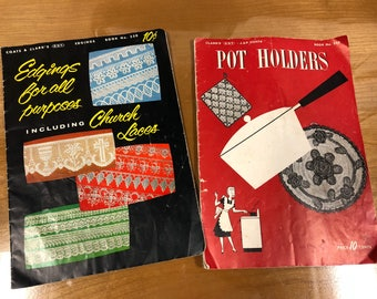 Crochet pattern books Lace and Potholders 1950s and 1940s