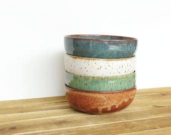 Instant Collection Stoneware Pottery Bowls - Set of 4, Rustic Ceramic Kitchen Bowls