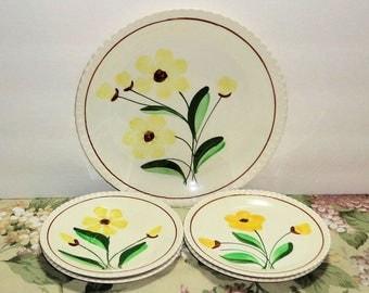 Vintage Blue Ridge Southern Potteries SUNSHINE 5 Pcs 3 Plates 2 Saucers Yellow Flowers