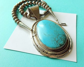Huge Navajo Sterling and Turquoise Pendant On Sterling Bench Bead Necklace