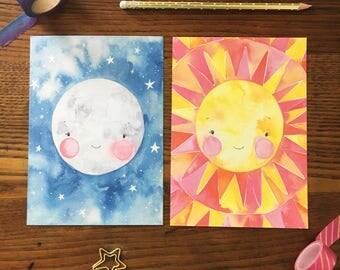 Moon Art. Sun Art. Celestial Art. Lunar Art Print. Nursery Decor. Watercolor Art. Set of 2. 5x7 Print. Ready to Frame. Gift Under 20