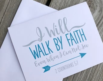 I Will Walk By Faith – Scripture Note Cards- II Corinthians 5:7 - Greeting Cards