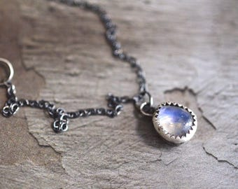 Rainbow Moonstone Necklace - Bezel Necklace - Dainty Necklace - Simple Necklace - Oxidized Sterling Silver Necklace - Rustic Necklace