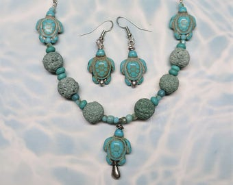 Sea Turtle Necklace and Earring Set, Turquoise Blue Glass and Stone Beads, Beaded Jewelry, Beach Jewelry