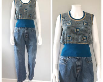 Vintage 70s blue knit sweater vest LA sweater