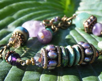Turquoise, Heather and Amethyst Silk Roads Bracelet