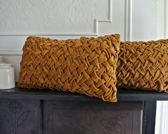 """Cotton Velvet and Wool/Cashmere Smocked Pillow 20"""" x 12""""."""