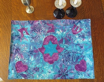 Batik Hamsa Purple sea green turquoise Challah cover Shabbat centerpiece mat Hebrew reversible applique Hearts and Star of David great gift