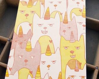 letterpress Clutter of Caticorns handmade notebook