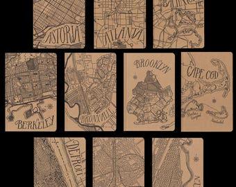 city map large letterpress notebooks