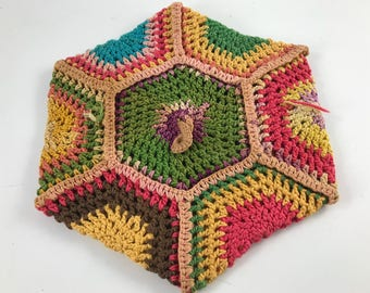 Vintage Hand Crochet Colorful Hexagon Potholder