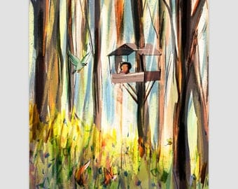 Treehouse giclee print, illustration, wall art