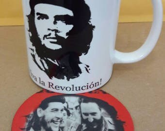 Che Guevara Fidel Castro  coffee mug cup set with coaster