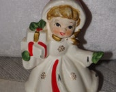 NAPCO Christmas Figurine, 1950's Napco  Christmas Girl Figurine,  X-Mas Holiday  Made in Japan, Holding Christmas Present