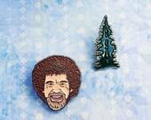Bob Ross and the Happy Little Tree Enamel Pin