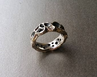Sterling silver carved ring