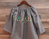 RESERVED FOR SWTJANE - Grey suiting material Peasant Top with floral accent - Size 7/8- Ready to Ship