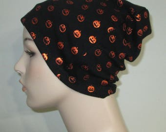 Chemo Hat Women's  Halloween Pumpkin Slouch Hat Play Sleep Cap, Cancer Hat, Alopecia   Chemo Hat