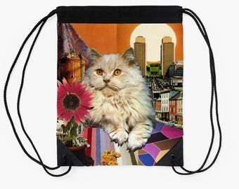 Leo StarCat Drawstring Tote Bag - Astrology Zodiac Collage Art - July August Birthday Gift for the Cat Lover