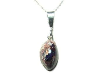 Mexican fire opal sterling silver pendant with chain