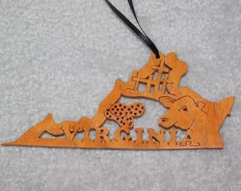 Wood State Ornament - Virginia