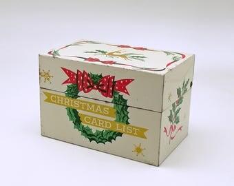 Vintage Christmas Card List Metal File Box Mid Century Reindeer Wreath MCM