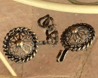 Vintage Brass Clasp - Open Metalwork -  Decorative Domed Ends