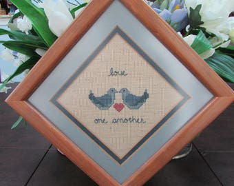 Vintage - Cross Stitched Framed Piece - Love One Another