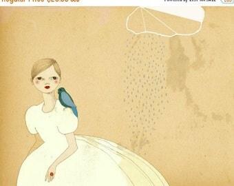 Sale Parrot Girl art print of original drawing