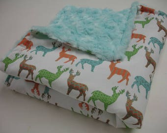 Meadow Deer Multi with Aqua Minky Rose Cuddle Lovey 20 X 20 READY TO SHIP
