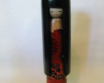 Carved long hair Kokeshi