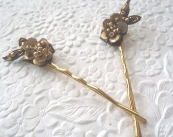 CLEARANCE - 2 brown/gold beaded hair-pins bobby-pins -  hair accessory occasion party wedding