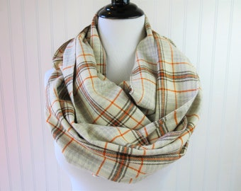 Fall Scarf - Plaid Flannel Scarf - Orange and Gray Plaid Infinity Scarf - Winter Scarf