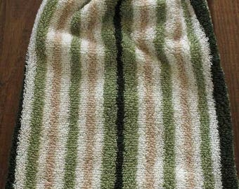 Green and Tan Stripe Crochet Top Hanging Towel