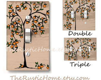 Tuscan style light switch cover choose your size single double triple orange tree oranges heart tree rustic home decor custom switchplate