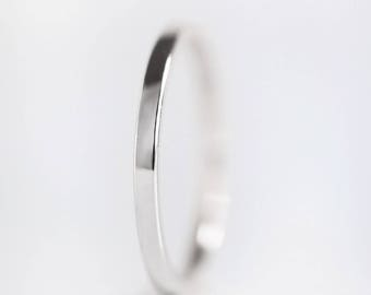 1.5mm White Gold Wedding Band | 14k 18k White Gold Ring | recycled gold | thin flat edge wedding band | Shiny or Matte Brushed Finish