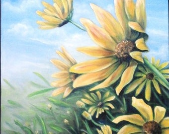 """REDUCED Oil Painting Yellow Sunflowers 18"""" x 24"""""""