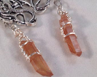 Natural Tangerine Quartz points with dragon charms, earrings