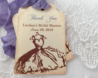 Lavender Bridal Tags Favor Thank You Tags Purple Set of 10