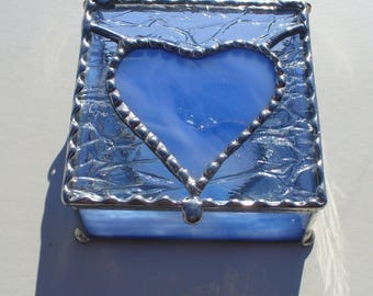 Wispy Blue, Heart Box - Hand Made, Stained Glass Jewelry Box  -WIspy Blue and Clear Glass