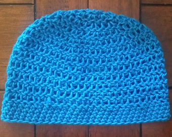 Turquoise Hemp Cotton All Weather Beanie - Small Size, Ready to Ship - SALE!
