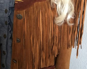 Vintage Suede jacket with fringe and Native American accents