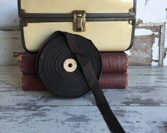 Vintage Grosgrain Ribbon - Brown 3/4 Inch - Wooden Roll - 47 yards