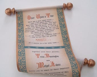 Medieval Wedding Invitation Scroll with Celtic Knots on Fabric, Copper and Teal, 25