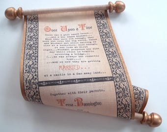 Medieval Wedding Invitation Scroll on Linen Fabric in Copper and Black {SAMPLE}