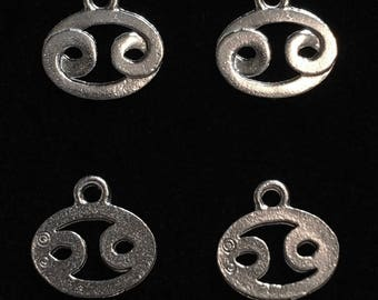 4 Silver Pewter Cancer Charms, Astrology Charms, ZodiacCharms  (qb112)