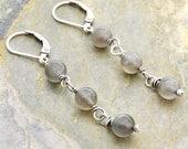 June Birthstone Jewelry - Dangle Moonstone Earrings - Gray Dangle Earrings - Sterling Silver - Lever Back Ear Wire - Gray Moonstone #4690