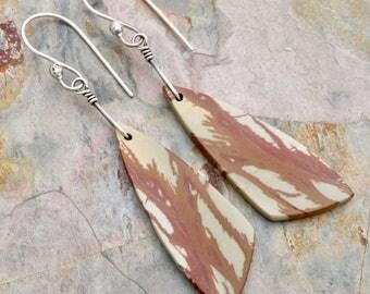 Red Creek Jasper Gemstone Earrings, Boho Minimalist Dangle Earrings, Rust and Gray-Green, Sterling Silver, Handmade Ear Wire, #4822